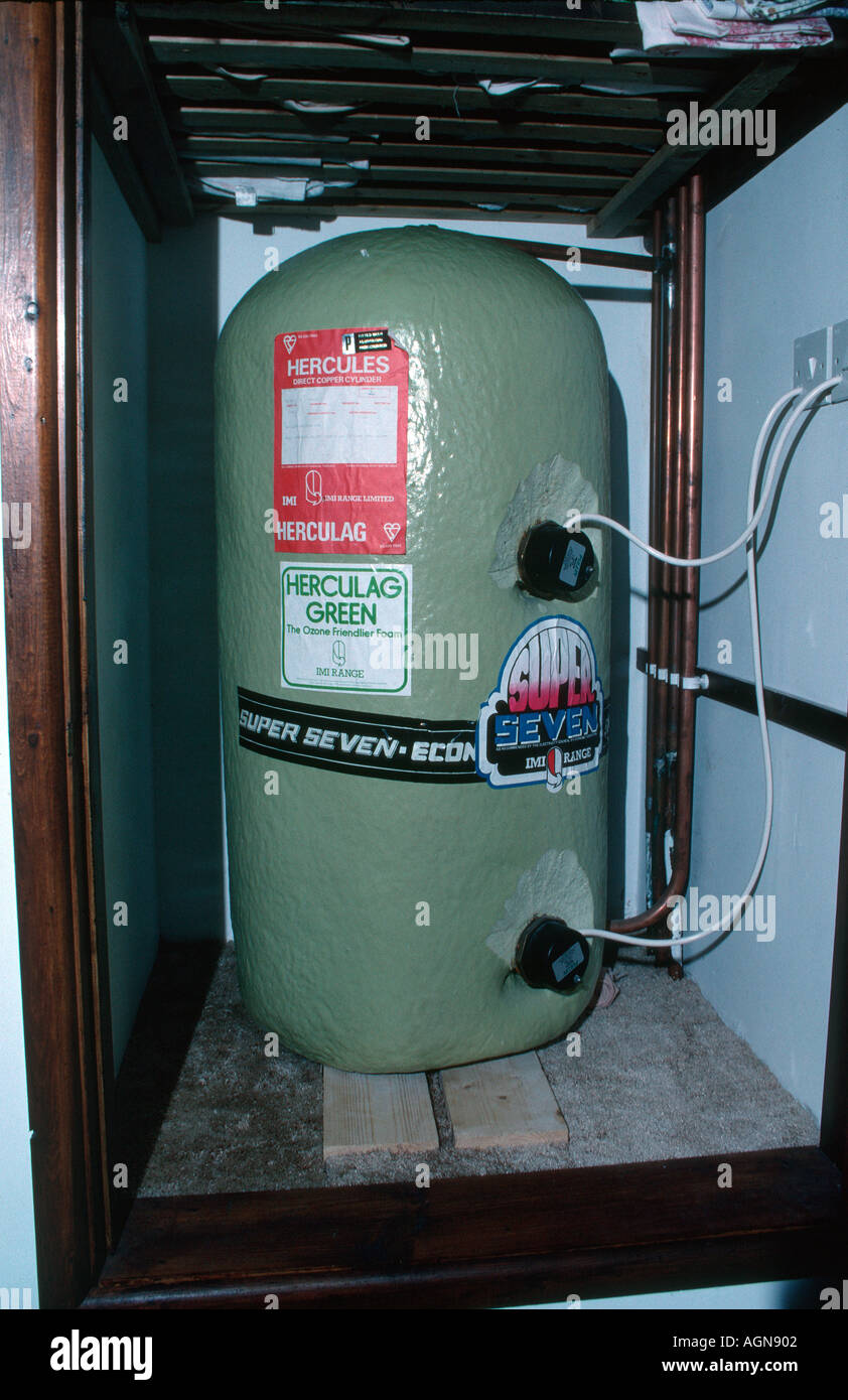 Insulated hot water cylinder with spray coated foam to avoid heat ...