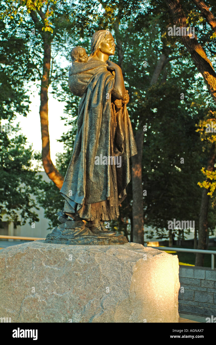 Statue of Sacagawea also known as Sakakawea in Bismarck North Dakota She was an interpreter for the Lewis and Clark expedition - Stock Image