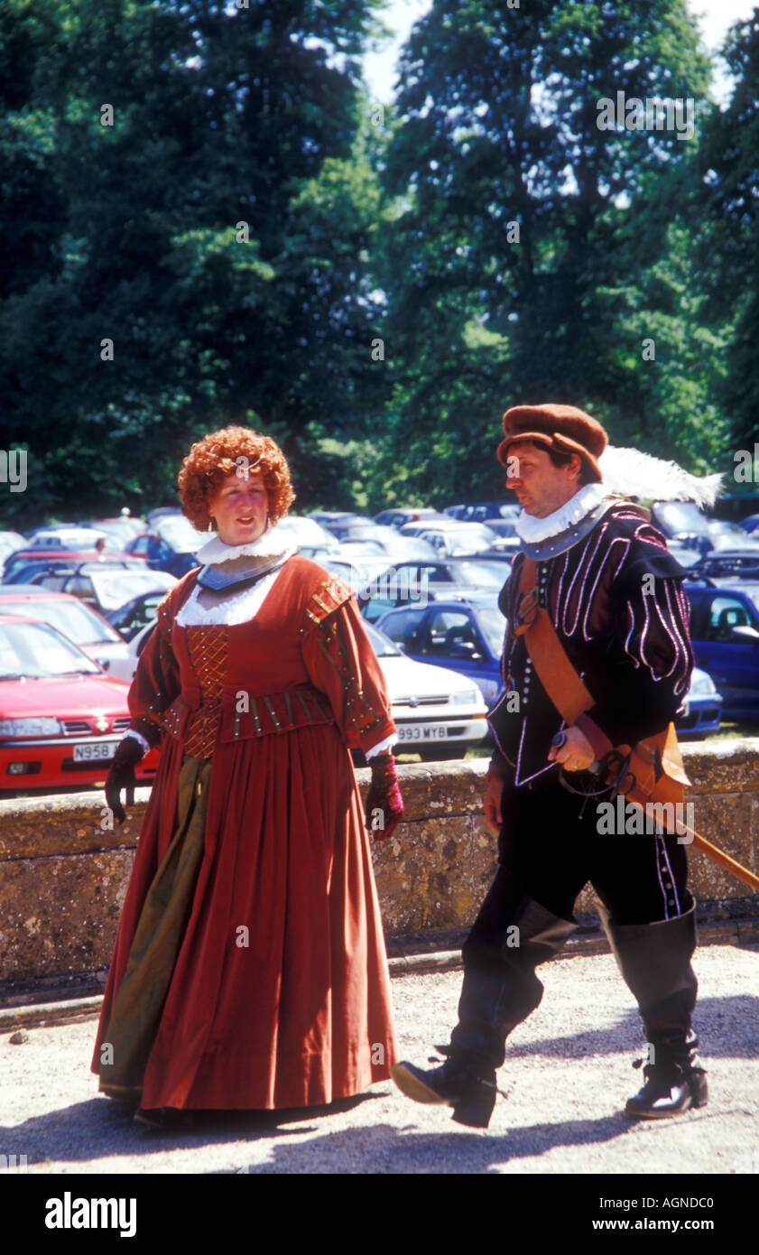 Elizabethan reencatment society in their medieval costumes. - Stock Image