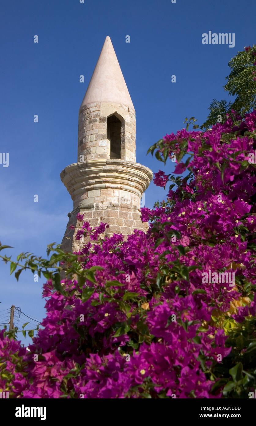 dh  KOS TOWN GREECE KOS Tower minaret purple flowering tree bougainvillea bush Stock Photo
