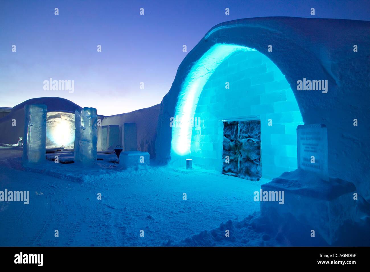 Main entrance of the Ice hotel Jukkasjarvi Sweden - Stock Image