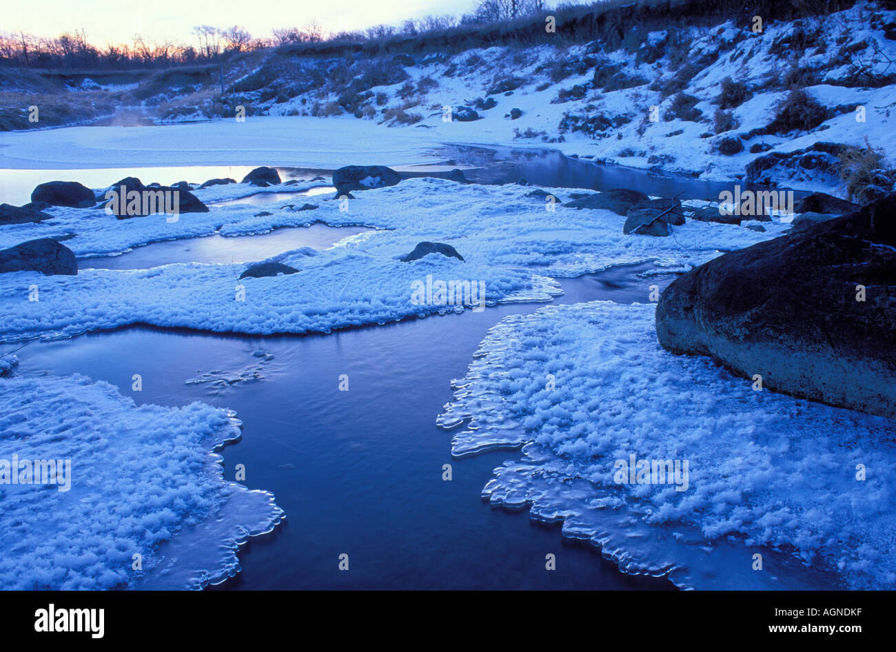 Ice along the Tounge River in Icelandic State Park North Dakota - Stock Image