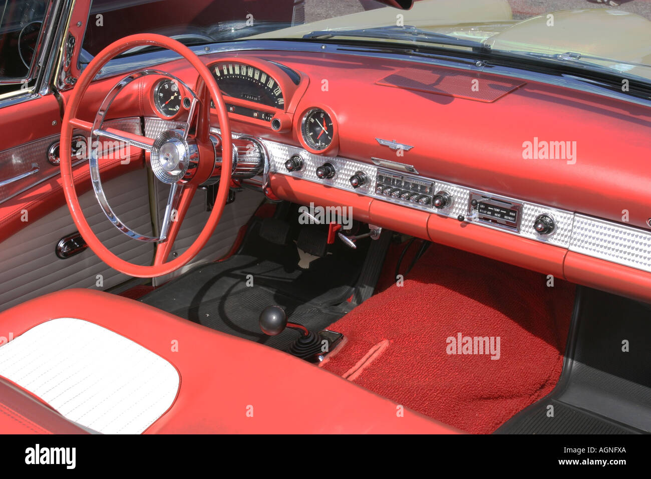 1955 Ford Stock Photos Images Alamy F100 Truck Steering Wheels Interior Of A Thunderbird Convertible Seen During Us Car Meeting Organized By The