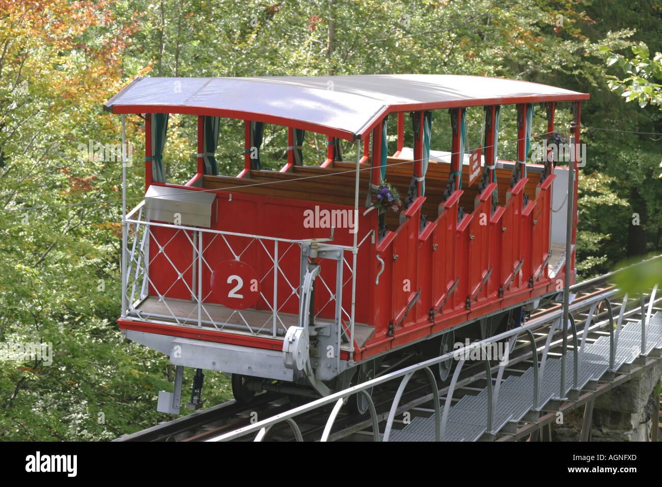 Hotel Giessbach funicular above Lake of Brienz (Bernese Oberland, Switzerland). Stock Photo