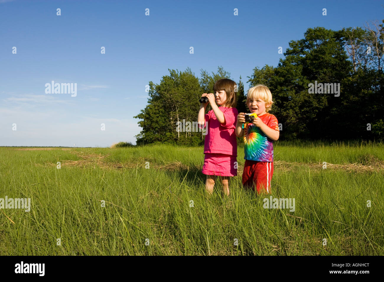 Kids studying nature in Plum Island Sound in Rowley Massachusetts USA - Stock Image