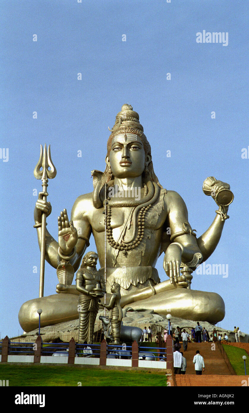 Statue of Lord Shiva at Murudeshwar Mahadev Temple, Karnataka, India - Stock Image