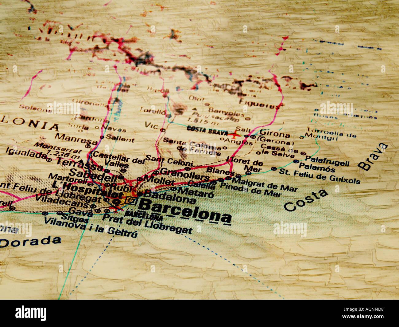 Antique Looking Map Barcelona Stock Photos Antique Looking Map - Antique looking maps