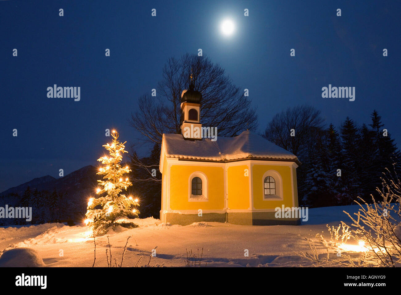 Christmas tree and chapell - Stock Image