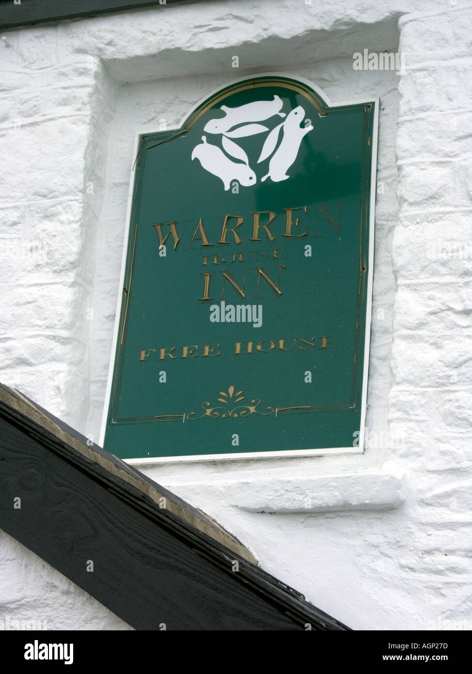 Pub Sign, The Warren House Inn, Dartmoor National Park, Devon, England - Stock Image