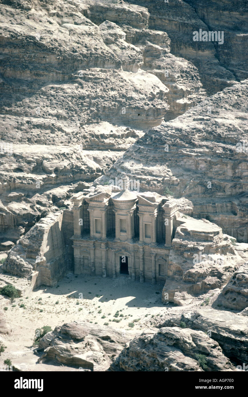 Aerial view of the Monastery or Al Deir Nabataen city of Petra Stock Photo