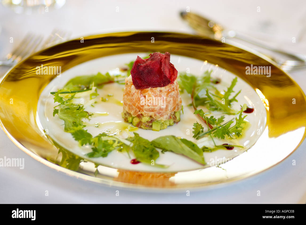 Fine dining, a salmon terrine starter - Stock Image