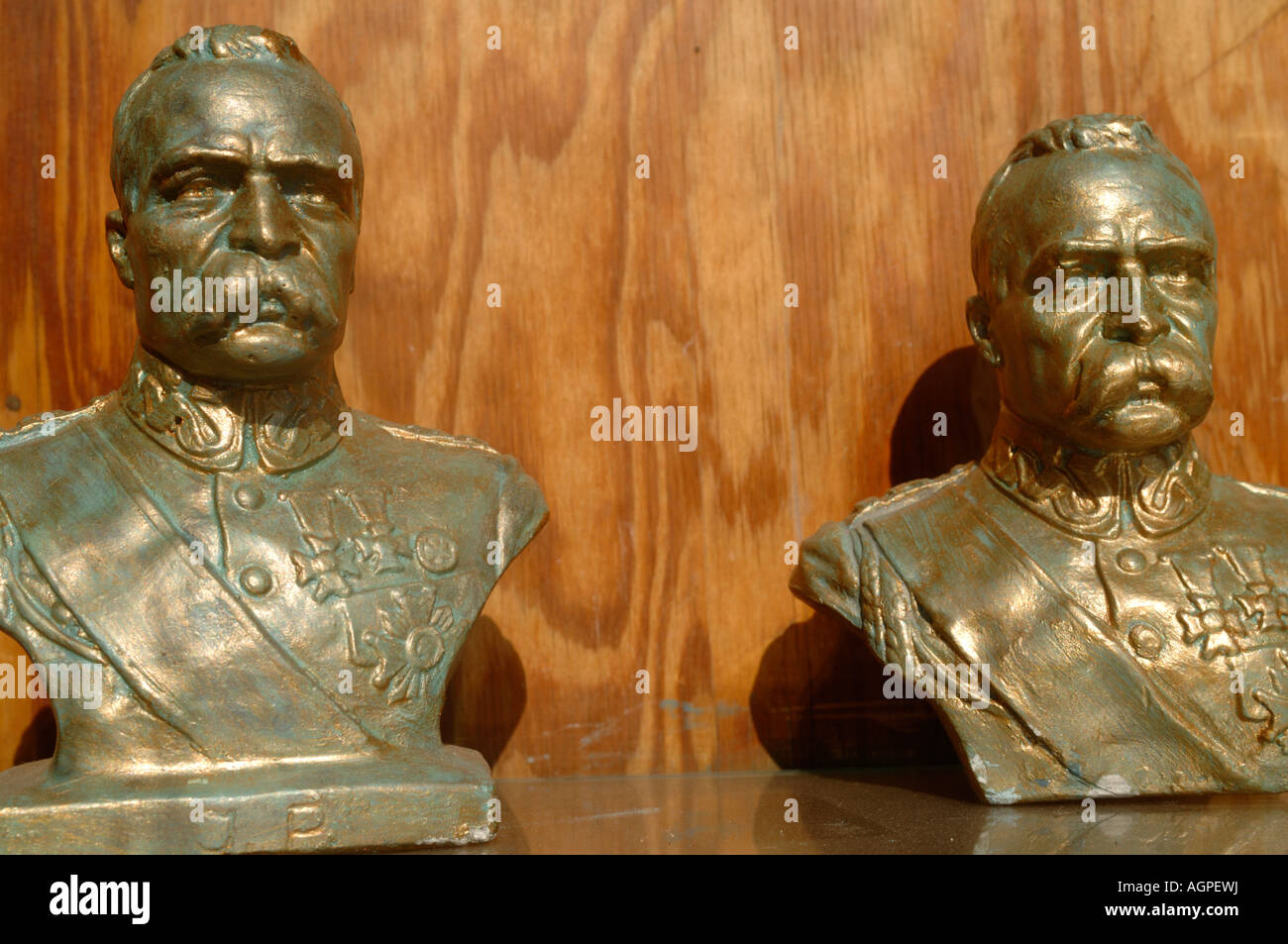 Miniature busts of the Polish general and politician Pilsudski in a