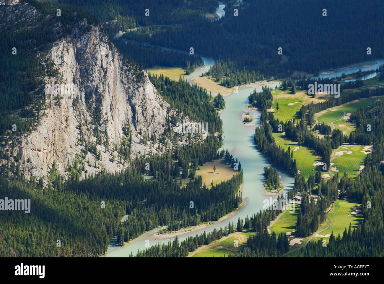 View of Banff Springs Golf Course in the Banff National Park Alberta Canada - Stock Image