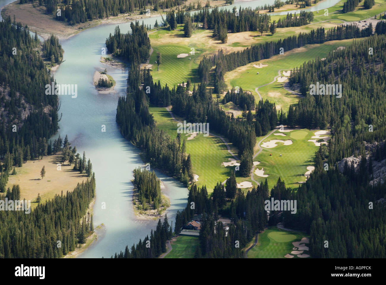 Banff Springs Golf Course at Banff National Park one of the world s most scenic courses in Alberta Canada - Stock Image