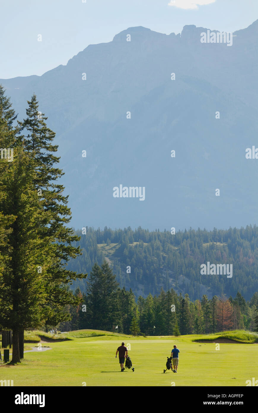 Banff Springs Golf Course one of the world s most scenic courses in the Banff National Park in Alberta Canada - Stock Image
