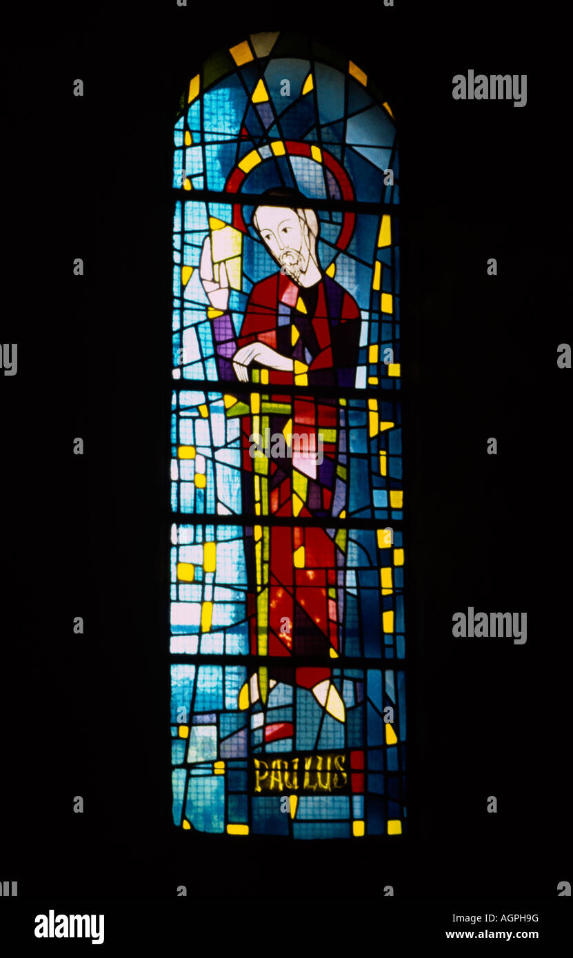 St Remy France Monastery Of St Paul De Mausole  St Paul Stained Glass Window - Stock Image