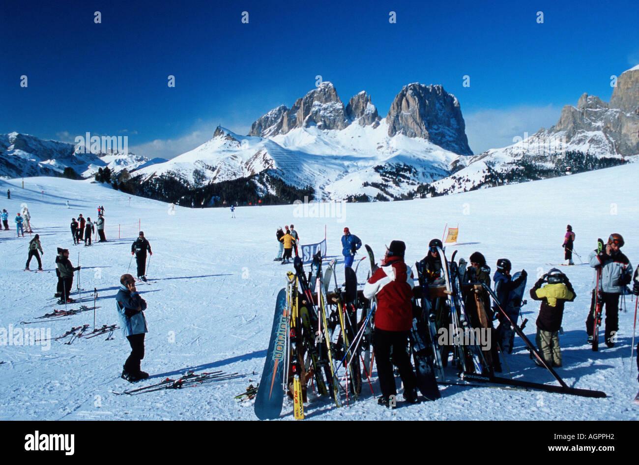 Skier at Pordoi Pass / Skifahrer am Pordoi-Pass - Stock Image