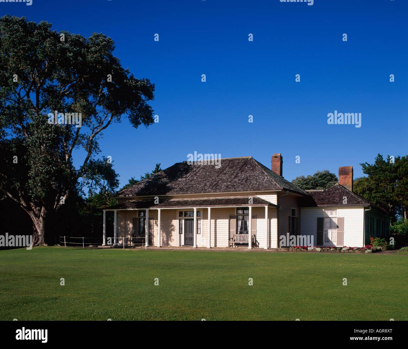 Waitangi Treaty House Paihia Northland North Island New Zealand Stock Photo