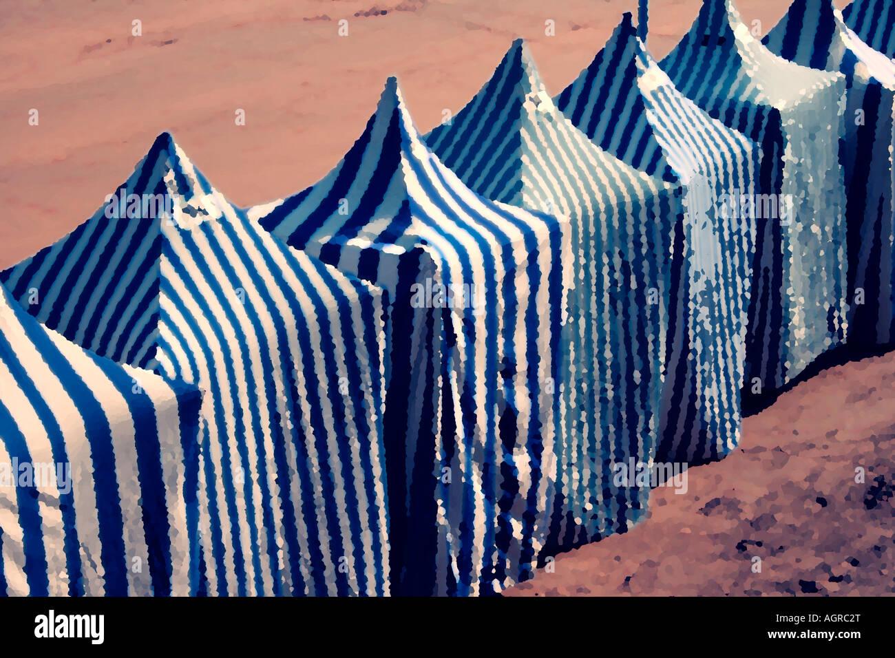 Stylised image of beach tents at Zarautz Spain - Stock Image