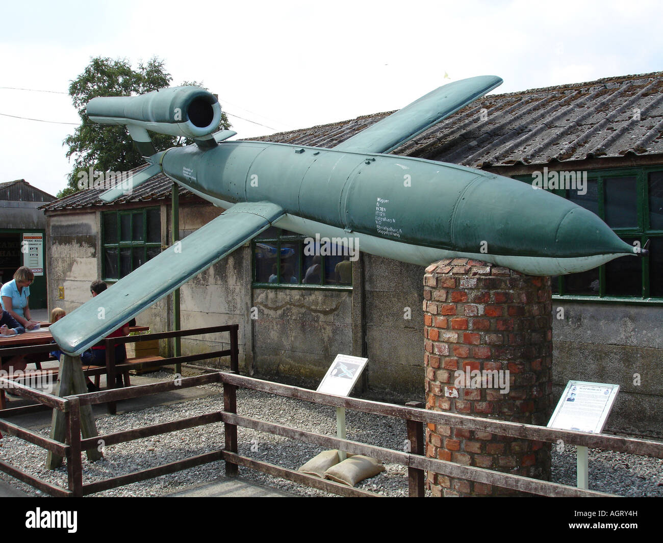 A German World War Two V1 'Flying Bomb' doodlebug at the Eden Camp Museum, North Yorkshire. - Stock Image
