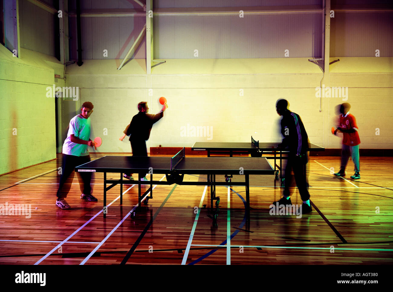 table tennis at Lewisham College - Stock Image