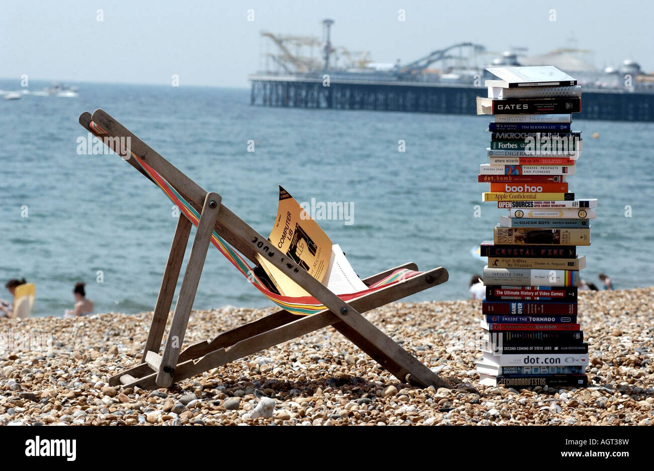 Serious summer reading. A stack of technical books on a deckchair on Brighton beach with the Pier in the background - Stock Image