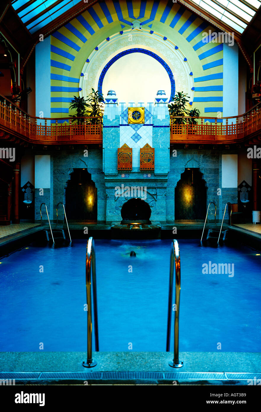 A pool area in a Swedish spa hotel in Stockholm - Stock Image