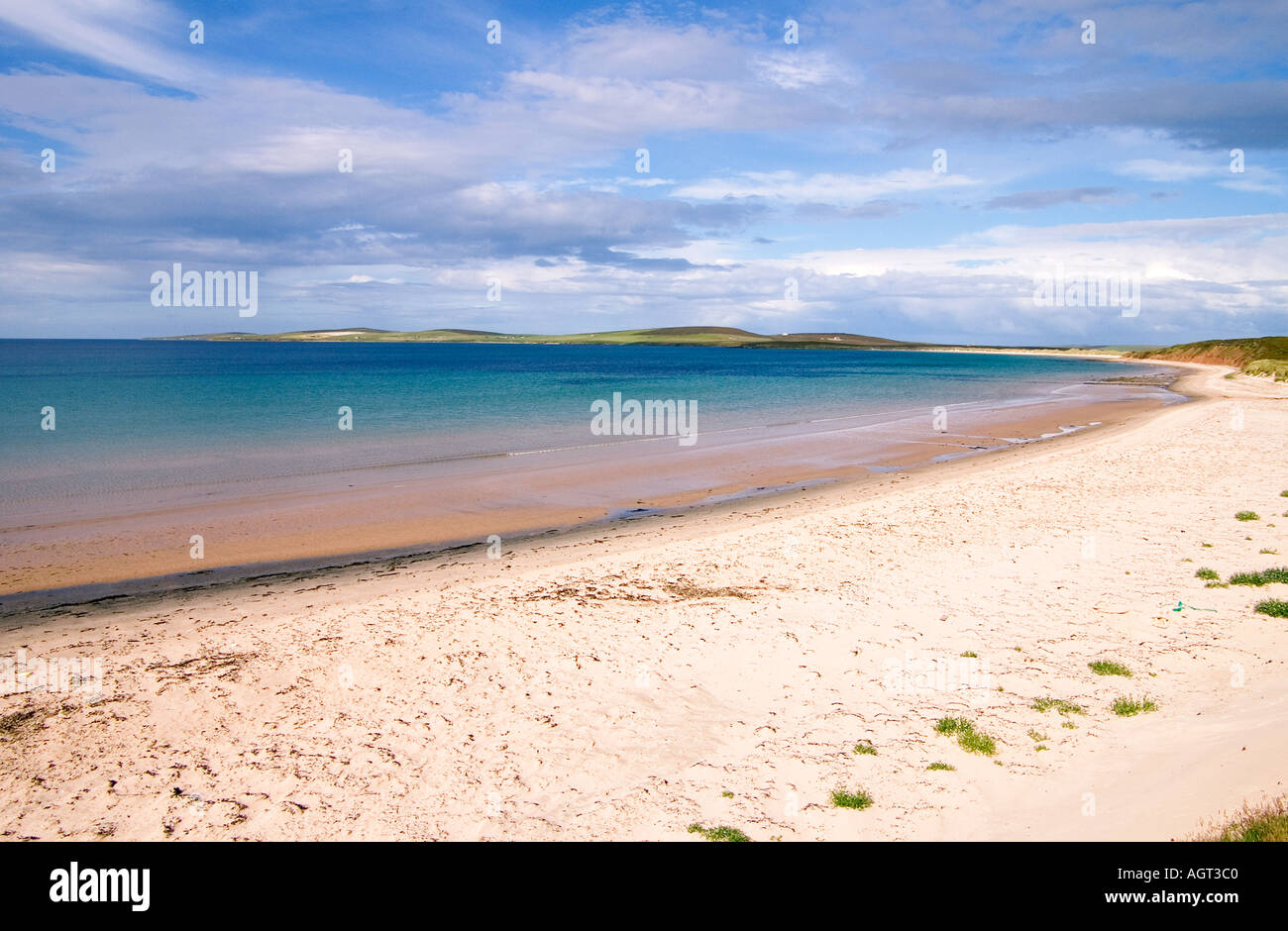 dh Sands of Mussetter EDAY ORKNEY White sandy beach Fersness Bay Stock Photo