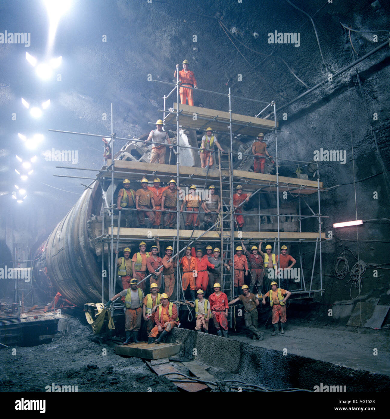Channel Tunnel workforce on the undersea North Rail Tunnel Boring Machine TBM pictured in the UK Crossover Cavern Stock Photo