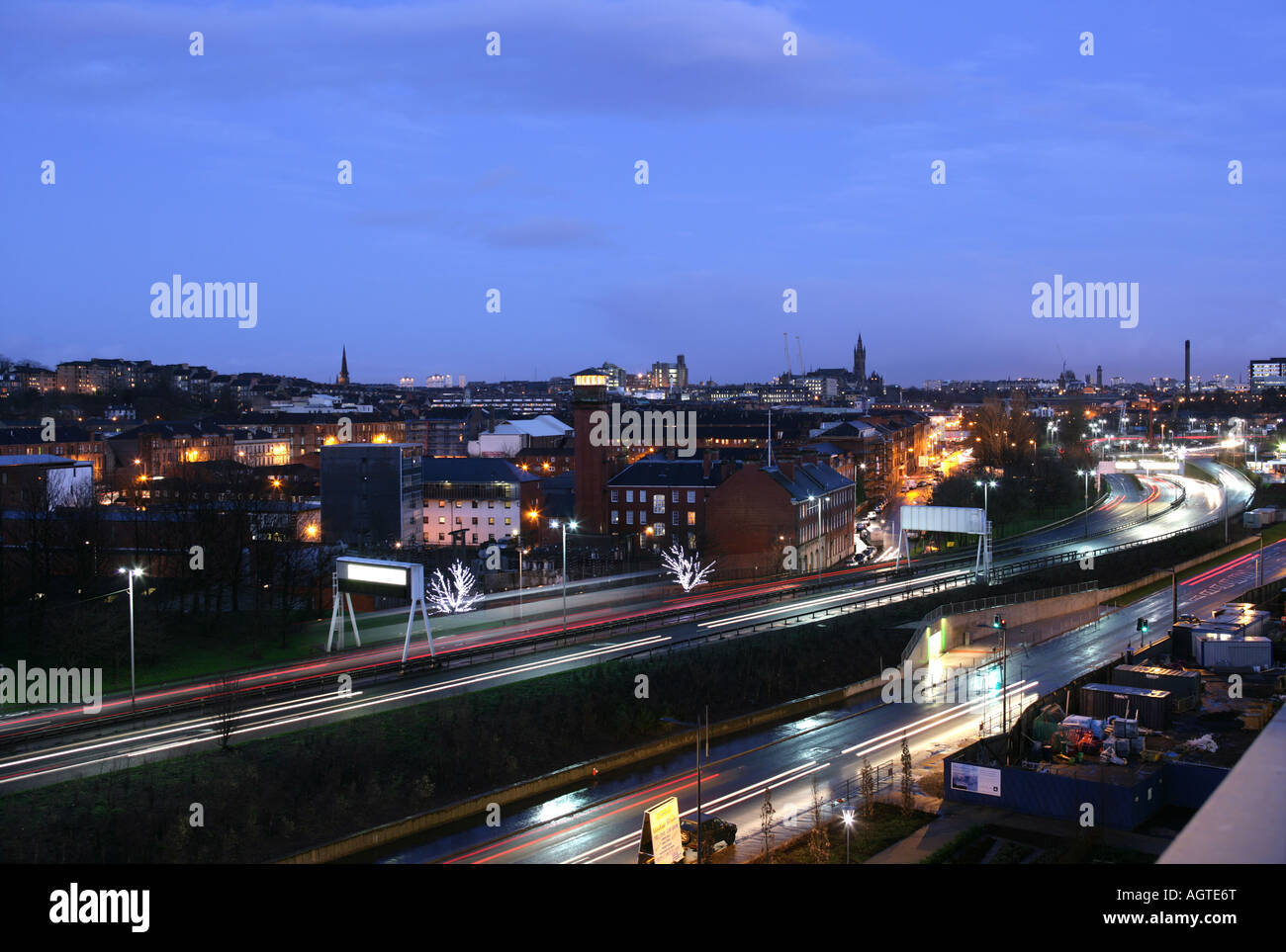 A night shot of Partick from Clyde Waterfront - Stock Image