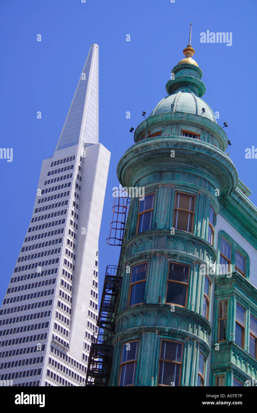 Transamerica Pyramid and Sentinel Tower, San Francisco Stock Photo