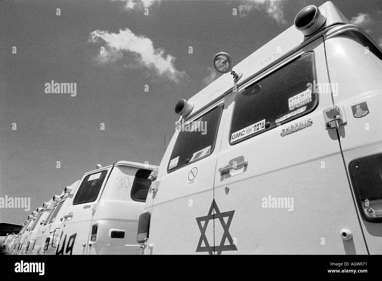 Mobile care vehicles parked in 'Magen David Adom' Israel's national emergency medical service station - Stock Image
