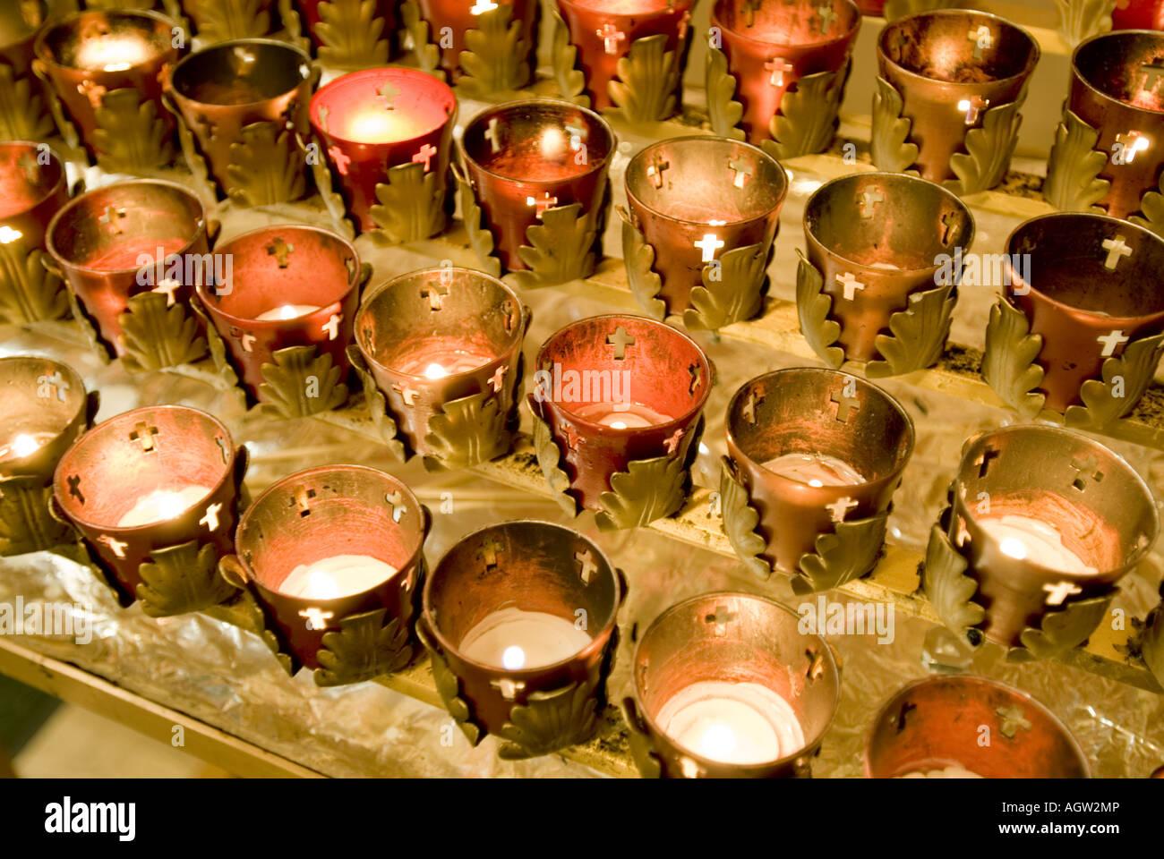Votive candles Santaurio De Chimayo Church Cimayo New Mexico - Stock Image