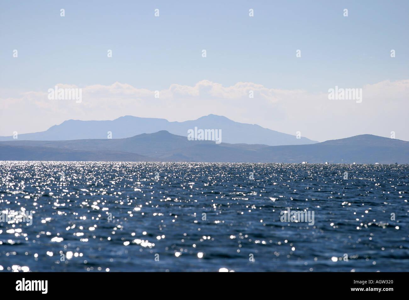 Lake Titicaca on the Peru side - Stock Image
