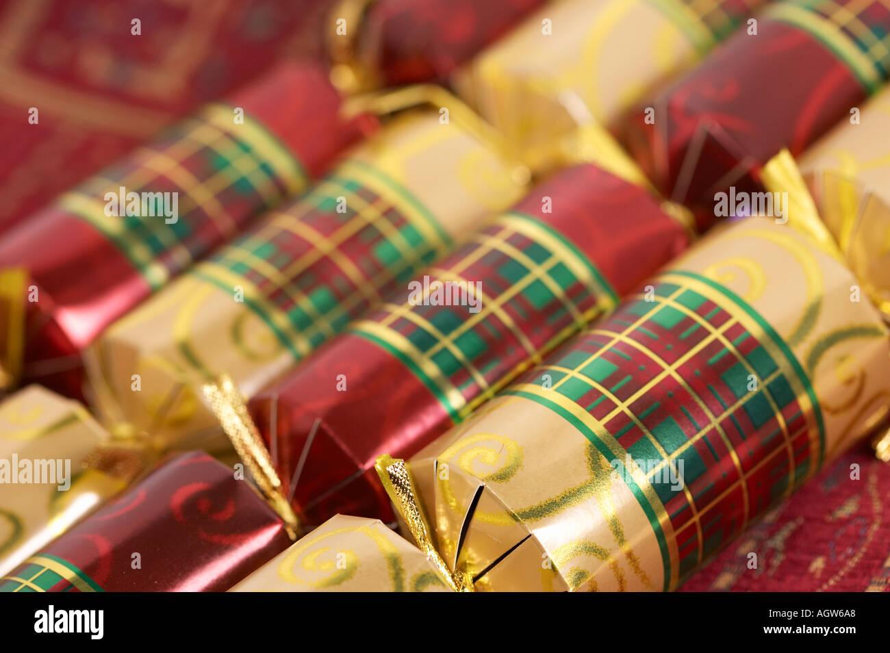 christmas crackers traditional english christmas stock image