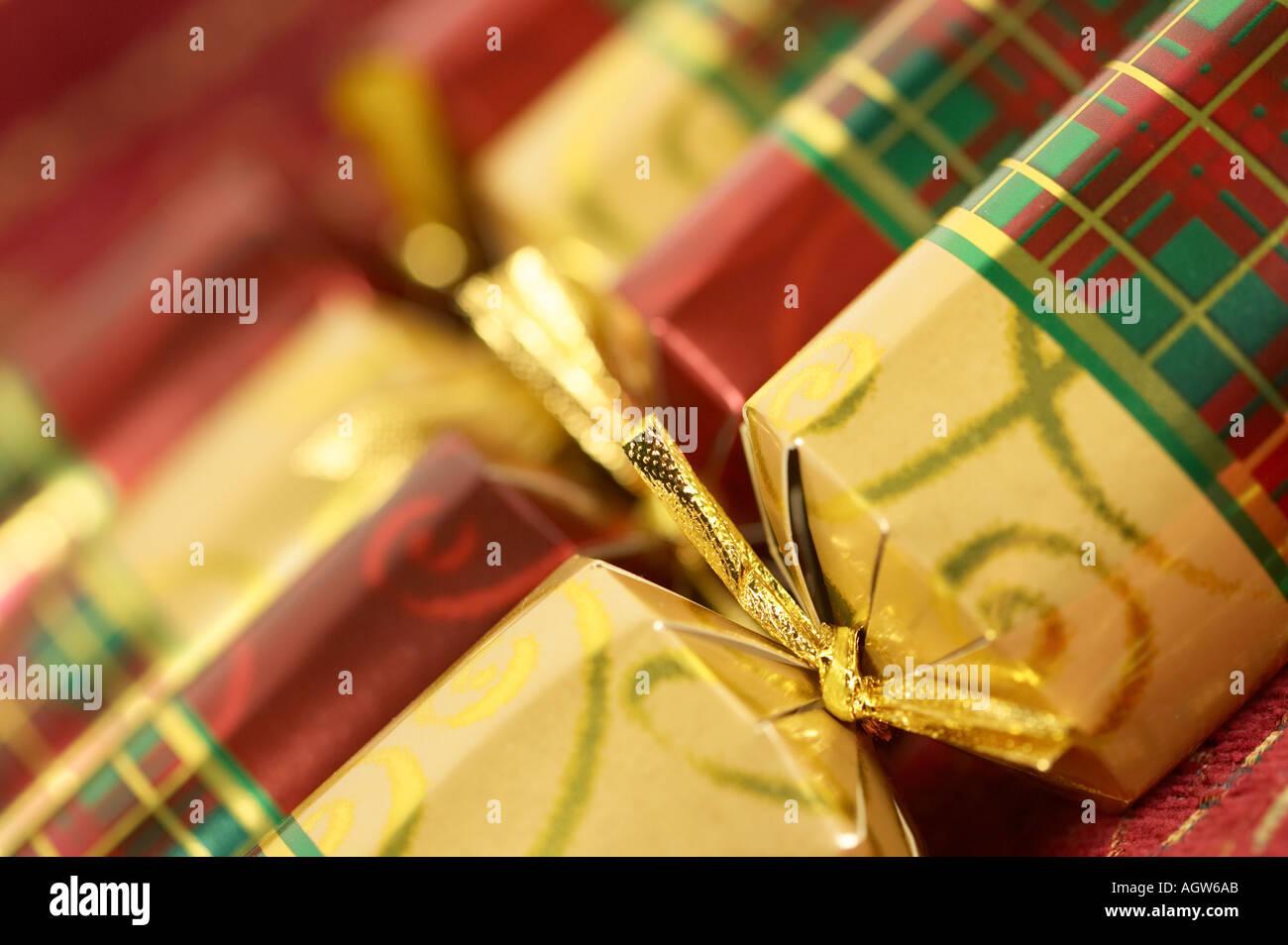 English Christmas Crackers.Christmas Crackers Traditional English Christmas Stock Photo