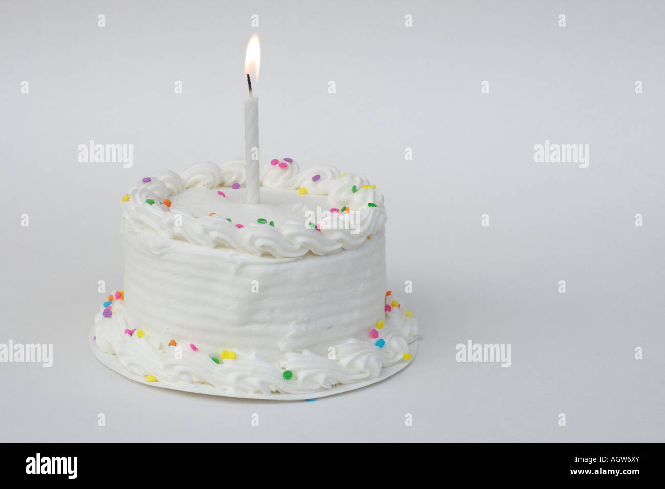 Small White Birthday Cake With Sprinkles