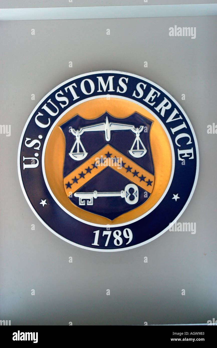U S Customs Seal O Hare International Airport Chicago IL - Stock Image