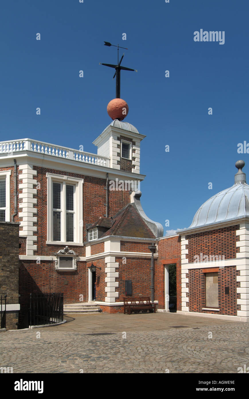 Greenwich Observatory Time Ball above Flamstead House used to provide signal to ships to check marine chronometers Greenwich Park London England UK - Stock Image