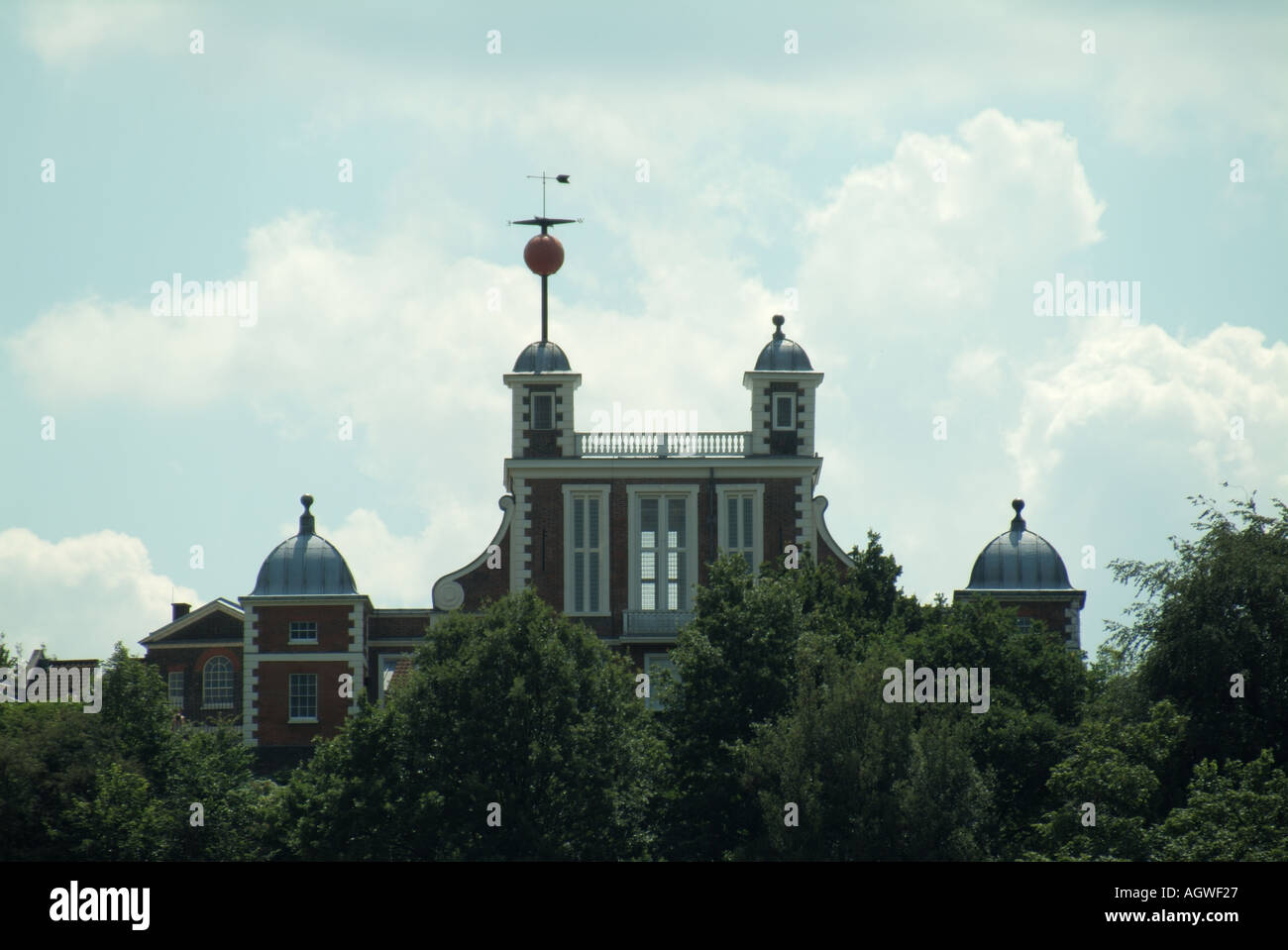 Greenwich Observatory raised Time Ball above Flamstead House used to provide signal to ships to check marine chronometers - Stock Image