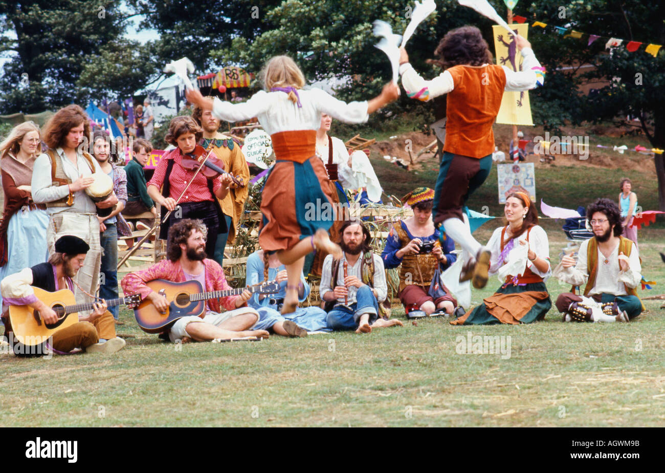Morris Dancers and musicians performing at Barsham Fair Beccles Suffolk England UK 1974    KATHY DEWITT - Stock Image