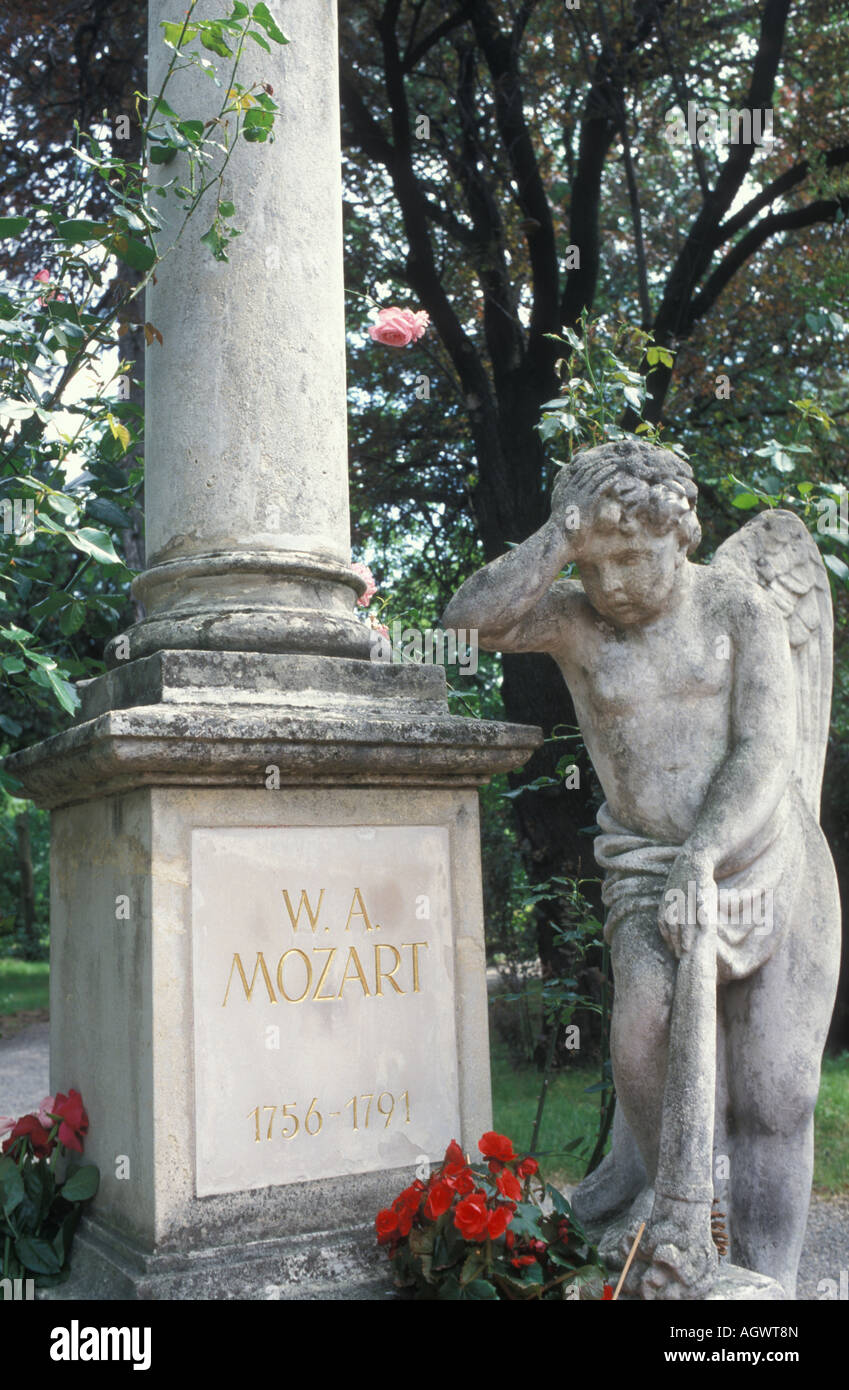Gravestone of Wolfgang Amadeus Mozart at the Sankt Marx cemetery in Vienna Austria - Stock Image