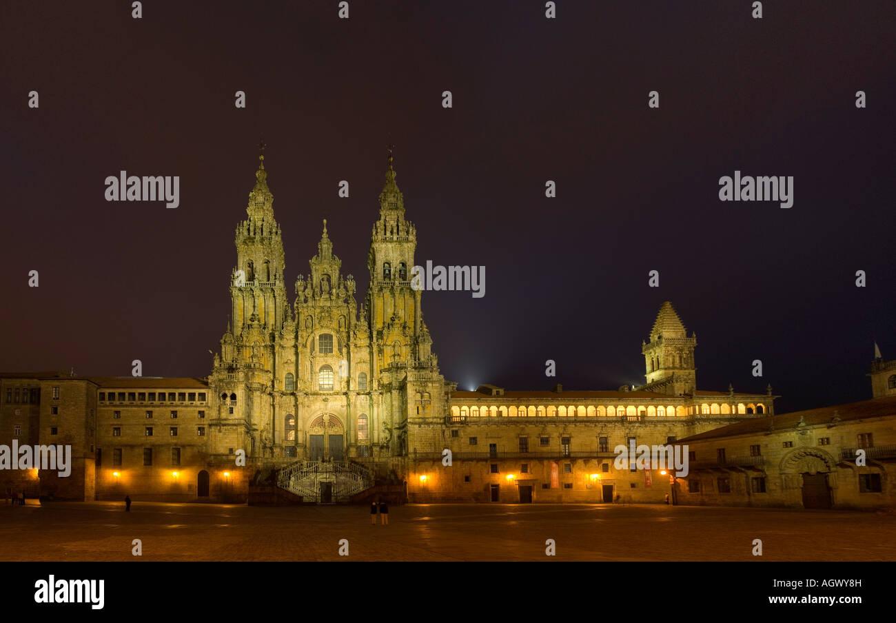 cathedral of Santiago de compostela plaza del obradoiro horizontal fin del Camino de Santiago Spain - Stock Image