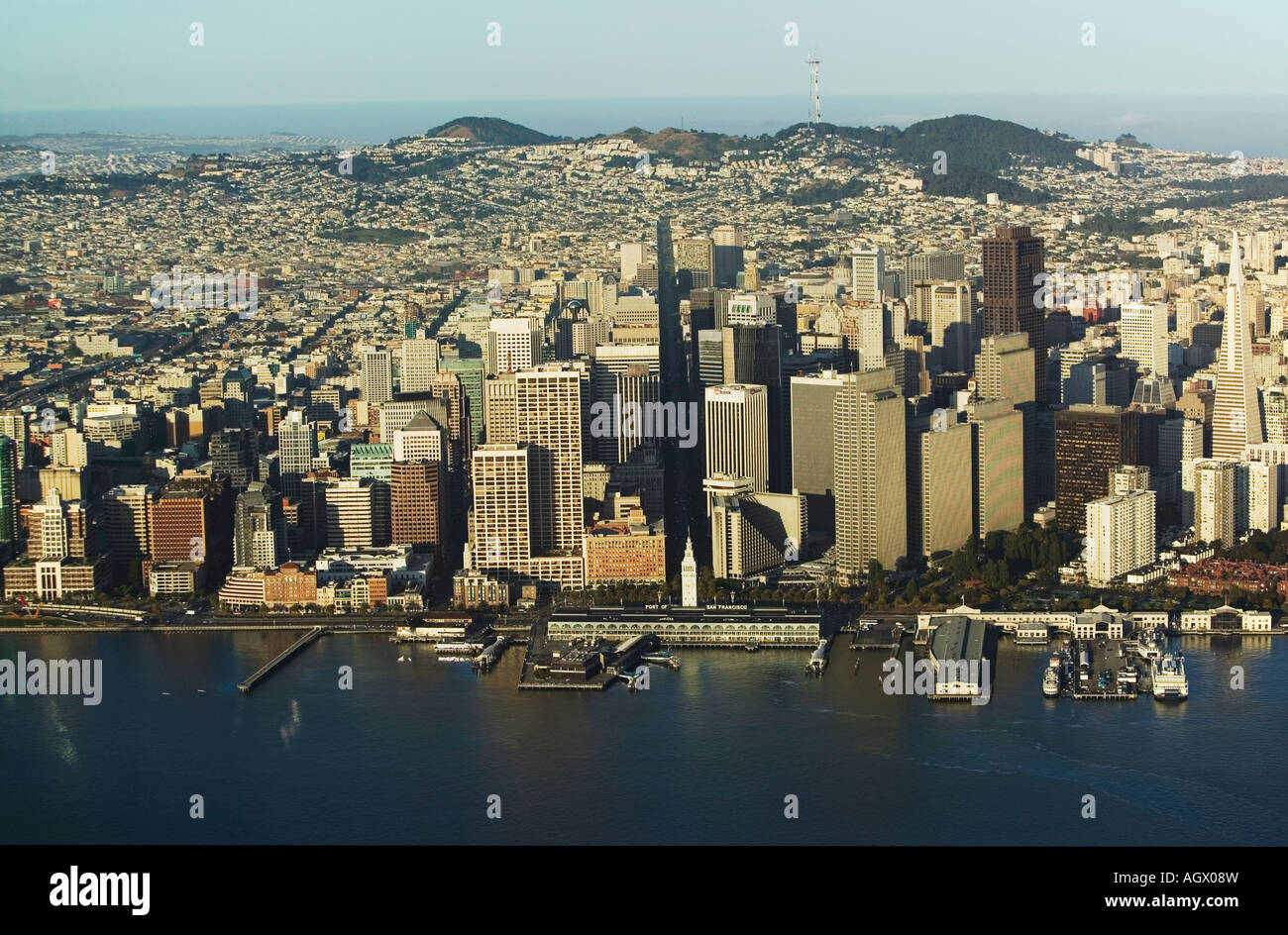 aerial above Embarcadero waterfront San Francisco from the bay with