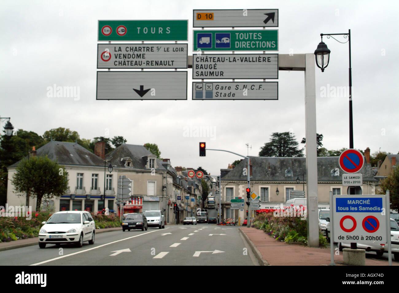 Chateau du Loir Northern France Europe EU toutes directions signage Hotel de Ville - Stock Image