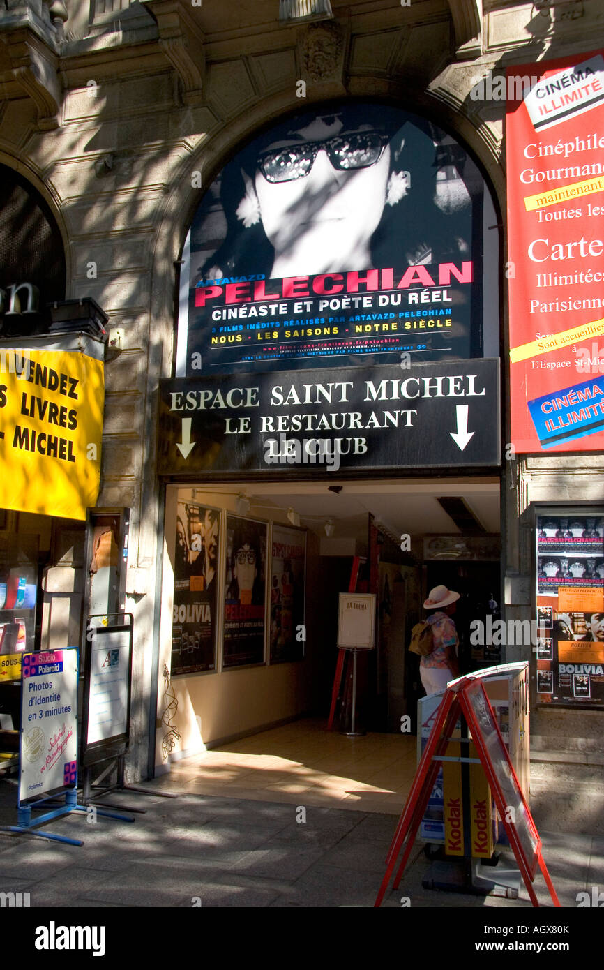 The entrance to the Espace Saint Michel cinema in Paris France - Stock Image