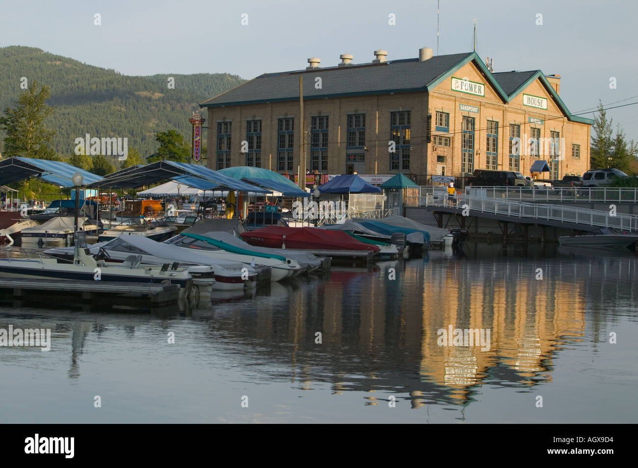 The Powerhouse Sandpoint Marina Bonner County Lake Pend Oreille Idaho USA - Stock Image