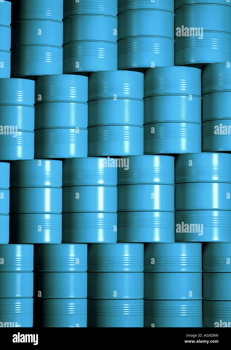 drum storage gestapelte Faesser Chemielager - Stock Image
