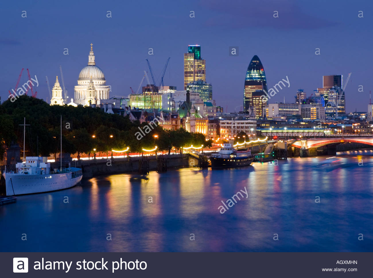 The City of London and the river Thames, London, England. Stock Photo