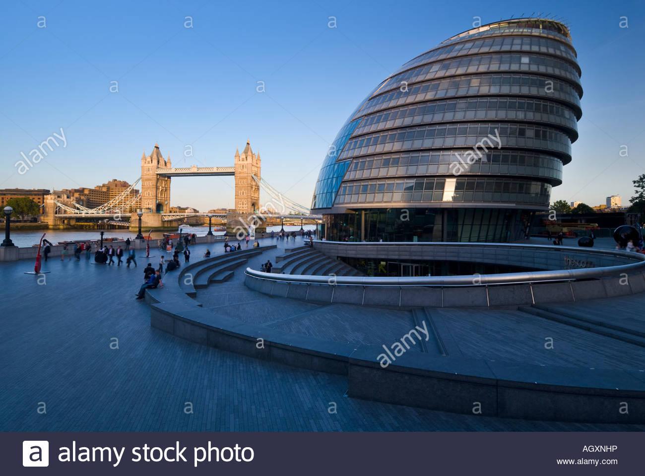 New City Hall and Tower Bridge, London. - Stock Image